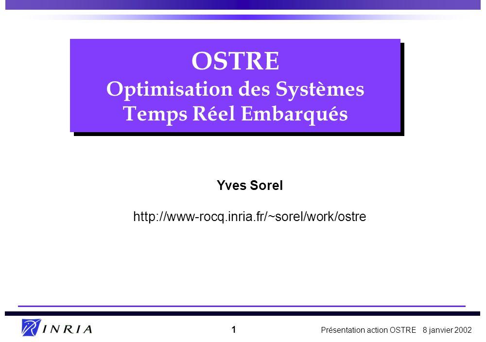 Présentation action OSTRE 8 janvier 2002 1 OSTRE Optimisation des Systèmes Temps Réel Embarqués Yves Sorel http://www-rocq.inria.fr/~sorel/work/ostre
