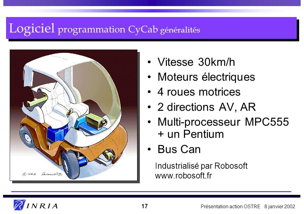 Présentation action OSTRE 8 janvier 2002 17 Logiciel programmation CyCab généralités Vitesse 30km/h Moteurs électriques 4 roues motrices 2 directions AV, AR Multi-processeur MPC555 + un Pentium Bus Can Industrialisé par Robosoft www.robosoft.fr