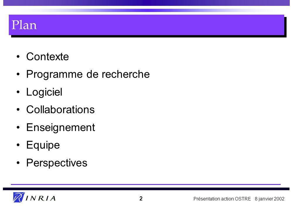 Présentation action OSTRE 8 janvier 2002 2 Contexte Programme de recherche Logiciel Collaborations Enseignement Equipe Perspectives Plan