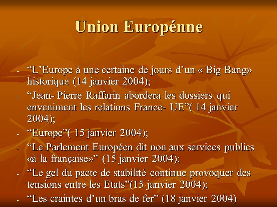 Union Europénne - L'Europe à une certaine de jours d'un « Big Bang» historique (14 janvier 2004); - Jean- Pierre Raffarin abordera les dossiers qui enveniment les relations France- UE ( 14 janvier 2004); - Europe ( 15 janvier 2004); - Le Parlement Européen dit non aux services publics «à la française» (15 janvier 2004); - Le gel du pacte de stabilité continue provoquer des tensions entre les Etats (15 janvier 2004); - Les craintes d'un bras de fer (18 janvier 2004)
