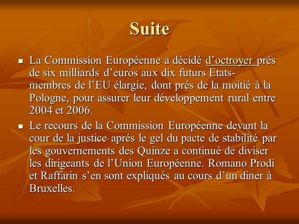 Suite La Commission Européenne a décidé d'octroyer prés de six milliards d'euros aux dix futurs Etats- membres de l'EU élargie, dont prés de la moitié à la Pologne, pour assurer leur développement rural entre 2004 et 2006.