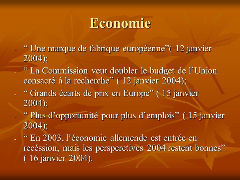 Economie - Une marque de fabrique européenne ( 12 janvier 2004); - La Commission veut doubler le budget de l'Union consacré à la recherche ( 12 janvier 2004); - Grands écarts de prix en Europe ( 15 janvier 2004); - Plus d'opportunité pour plus d'emplois ( 15 janvier 2004); - En 2003, l'économie allemende est entrée en recéssion, mais les persperctives 2004 restent bonnes ( 16 janvier 2004).