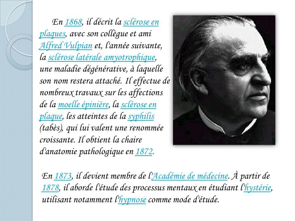 Son œuvre Les travaux de Charcot peuvent être classés en trois grandes catégories : études de médecine internemédecine interne études sur les maladies du système nerveux central et périphériquemaladies du système nerveux central et périphérique études sur l hystérie et l hypnose.hystériehypnose