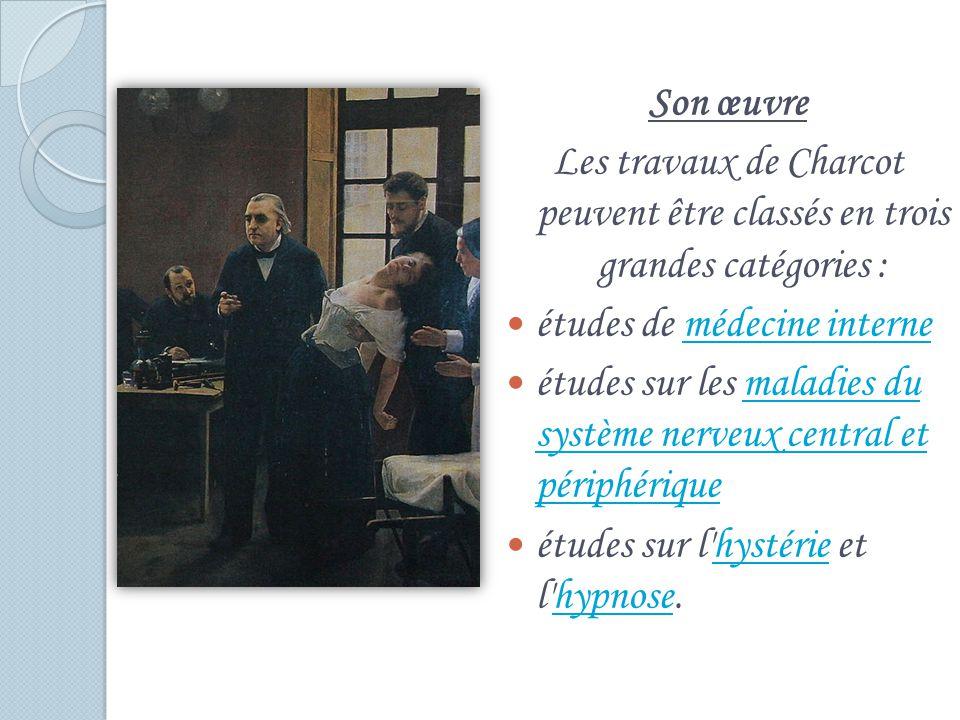 Son œuvre Les travaux de Charcot peuvent être classés en trois grandes catégories : études de médecine internemédecine interne études sur les maladies