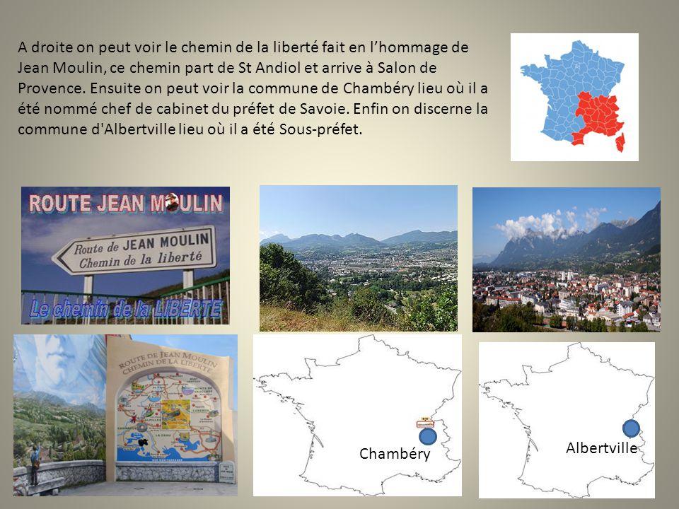 A droite on peut voir le chemin de la liberté fait en l'hommage de Jean Moulin, ce chemin part de St Andiol et arrive à Salon de Provence. Ensuite on