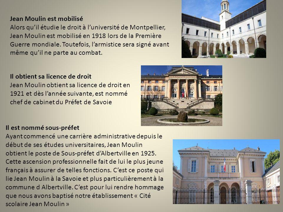Jean Moulin est mobilisé Alors qu'il étudie le droit à l'université de Montpellier, Jean Moulin est mobilisé en 1918 lors de la Première Guerre mondiale.