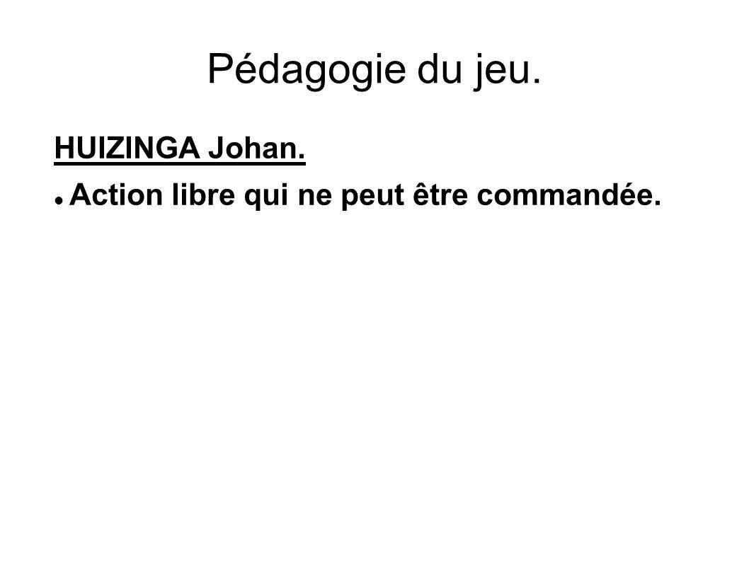 Pédagogie du jeu. HUIZINGA Johan. Action libre qui ne peut être commandée.