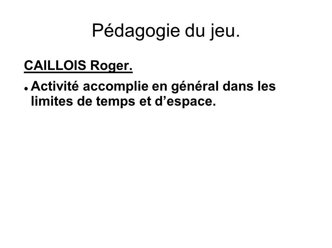 Pédagogie du jeu. CAILLOIS Roger. Activité accomplie en général dans les limites de temps et d'espace.