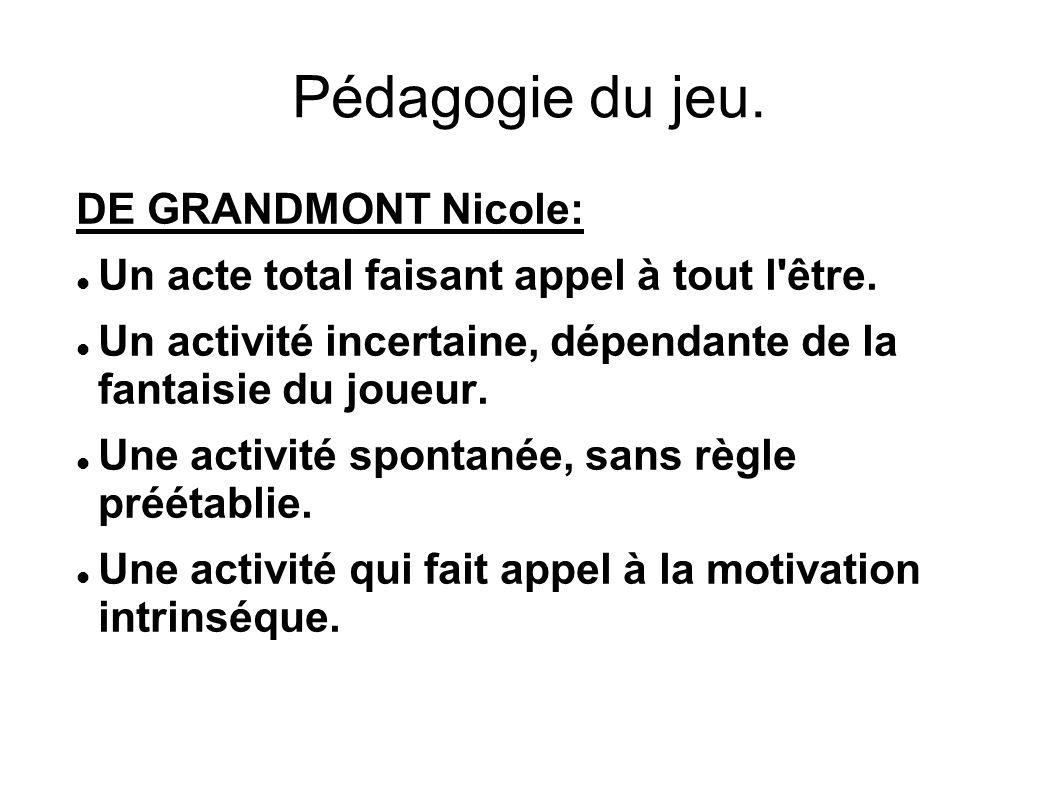 Pédagogie du jeu.DE GRANDMONT Nicole: Un acte total faisant appel à tout l être.