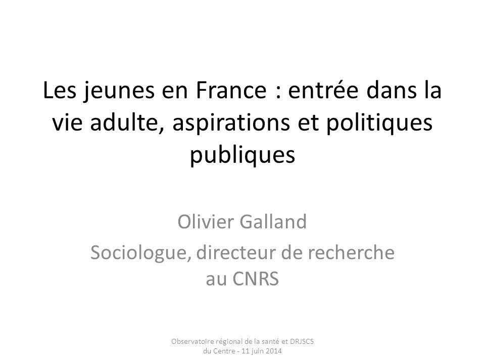 Les jeunes en France : entrée dans la vie adulte, aspirations et politiques publiques Olivier Galland Sociologue, directeur de recherche au CNRS Obser