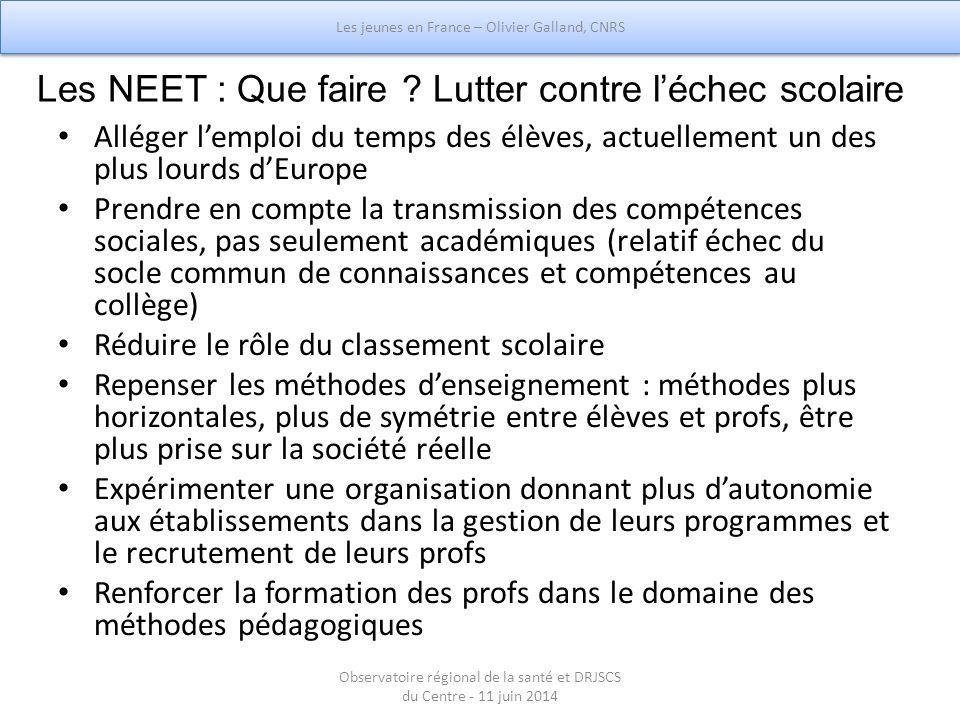 Les NEET : Que faire ? Lutter contre l'échec scolaire Alléger l'emploi du temps des élèves, actuellement un des plus lourds d'Europe Prendre en compte