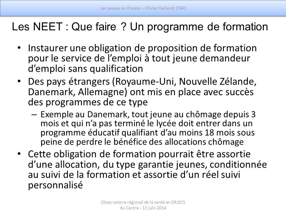 Les NEET : Que faire ? Un programme de formation Instaurer une obligation de proposition de formation pour le service de l'emploi à tout jeune demande