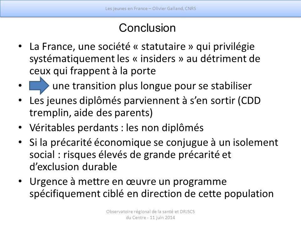 Conclusion La France, une société « statutaire » qui privilégie systématiquement les « insiders » au détriment de ceux qui frappent à la porte une tra