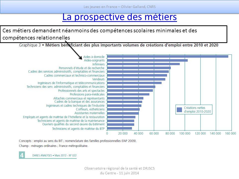 La prospective des métiers Ces métiers demandent néanmoins des compétences scolaires minimales et des compétences relationnelles Les jeunes en France