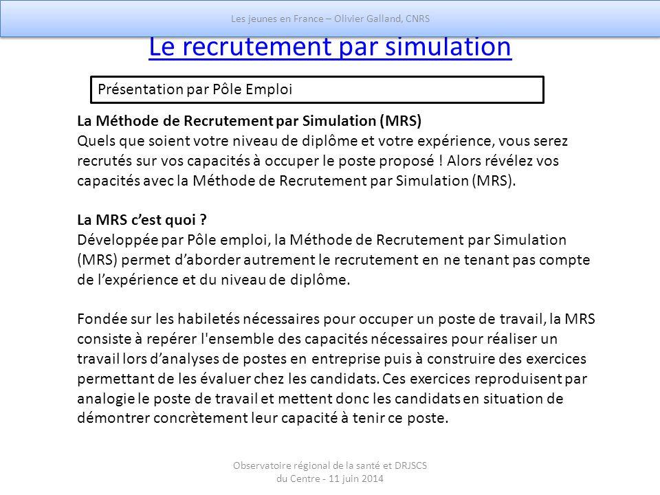 Le recrutement par simulation La Méthode de Recrutement par Simulation (MRS) Quels que soient votre niveau de diplôme et votre expérience, vous serez