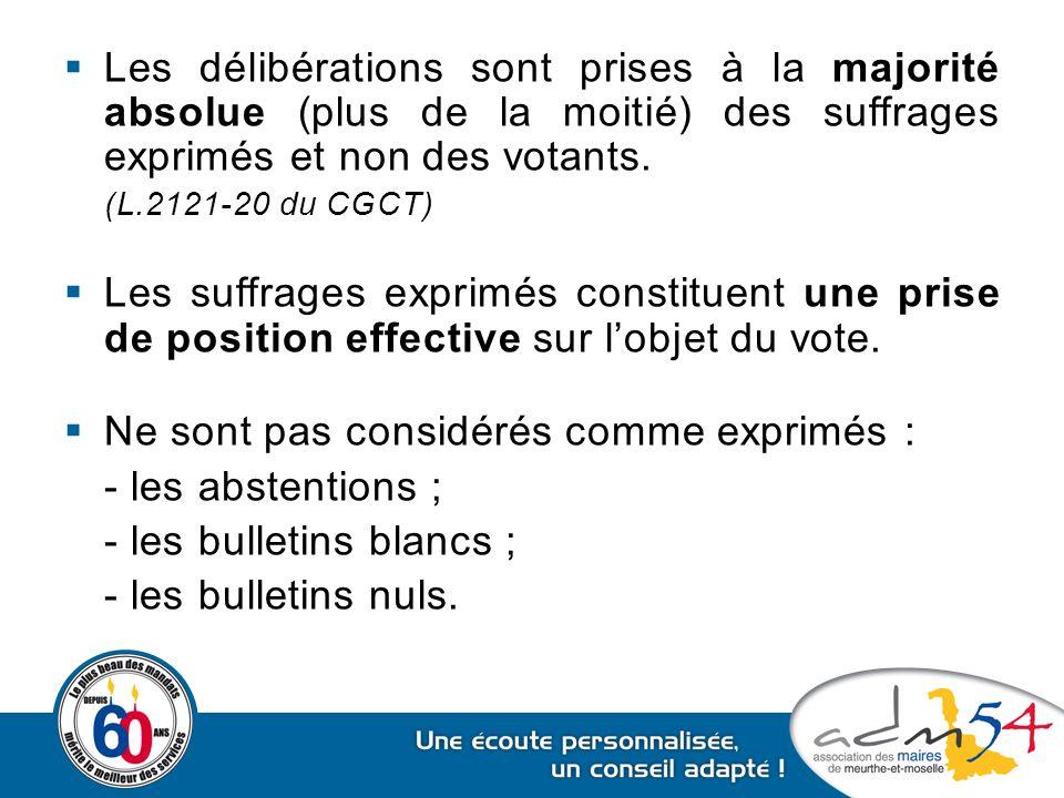  Les délibérations sont prises à la majorité absolue (plus de la moitié) des suffrages exprimés et non des votants. (L.2121-20 du CGCT)  Les suffrag