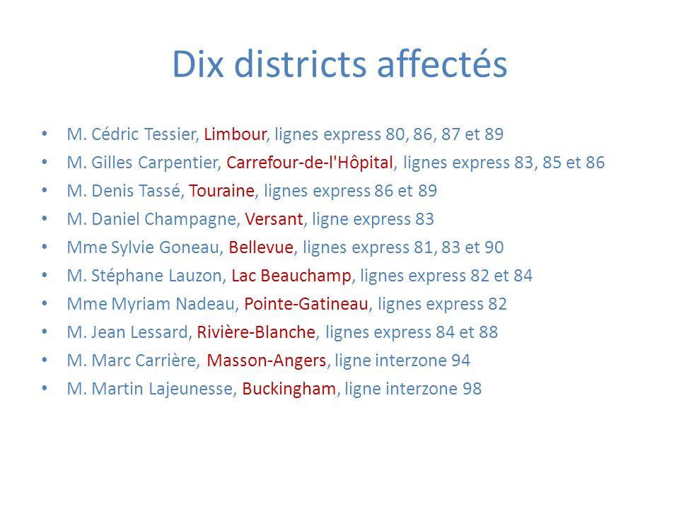 Dix districts affectés M. Cédric Tessier, Limbour, lignes express 80, 86, 87 et 89 M.