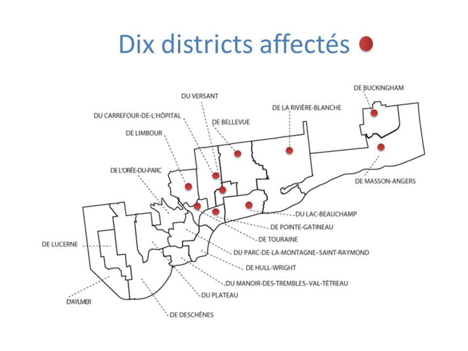 Dix districts affectés