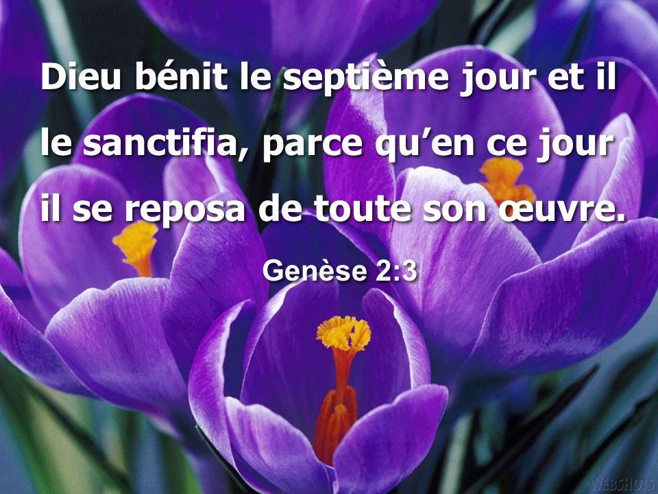 Dieu bénit le septième jour et il le sanctifia, parce qu'en ce jour il se reposa de toute son œuvre. Genèse 2:3 Dieu bénit le septième jour et il le s