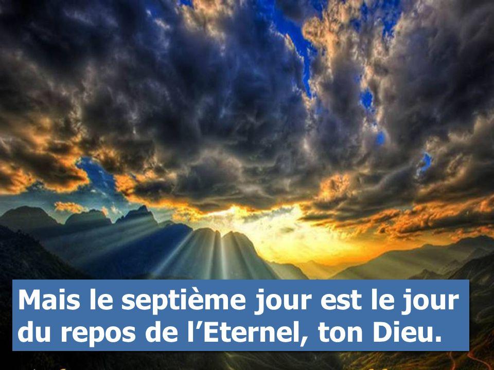 Mais le septième jour est le jour du repos de l'Eternel, ton Dieu.