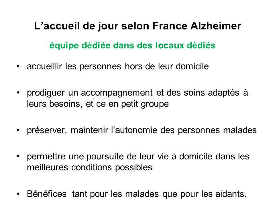 L'accueil de jour selon France Alzheimer équipe dédiée dans des locaux dédiés accueillir les personnes hors de leur domicile prodiguer un accompagneme