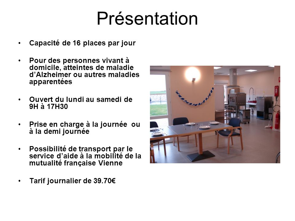 Description Une salle d'activité Une salle à manger, cuisine Un jardin clos 3 ateliers : orthophonie, ergothérapie, art-thérapie Une chambre de jour équipée de douche