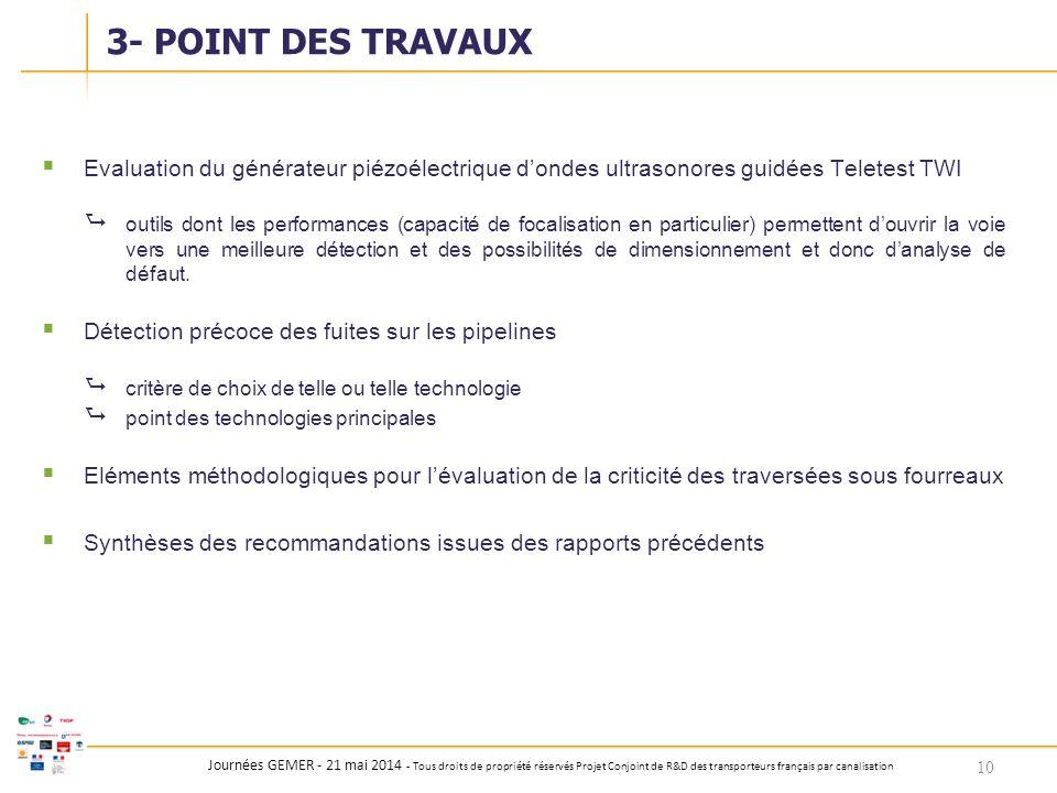 Journées GEMER - 21 mai 2014 - Tous droits de propriété réservés Projet Conjoint de R&D des transporteurs français par canalisation  Evaluation du gé