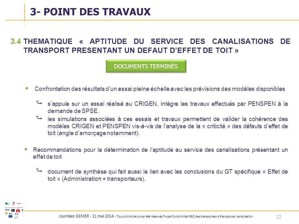 Journées GEMER - 21 mai 2014 - Tous droits de propriété réservés Projet Conjoint de R&D des transporteurs français par canalisation 3.4THEMATIQUE « AP