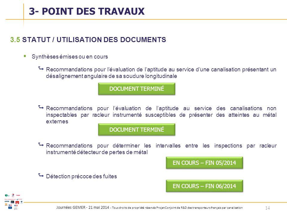 Journées GEMER - 21 mai 2014 - Tous droits de propriété réservés Projet Conjoint de R&D des transporteurs français par canalisation 3.5STATUT / UTILIS