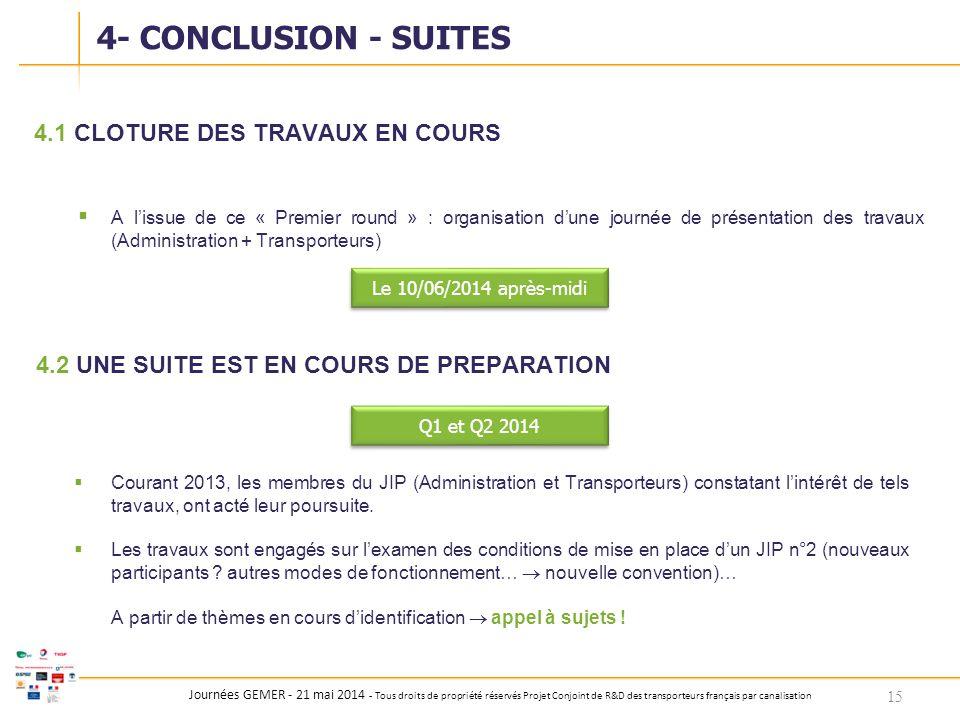 Journées GEMER - 21 mai 2014 - Tous droits de propriété réservés Projet Conjoint de R&D des transporteurs français par canalisation 4.1CLOTURE DES TRA
