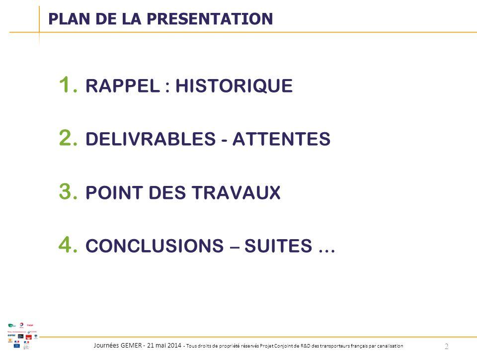 Journées GEMER - 21 mai 2014 - Tous droits de propriété réservés Projet Conjoint de R&D des transporteurs français par canalisation 1. RAPPEL : HISTOR
