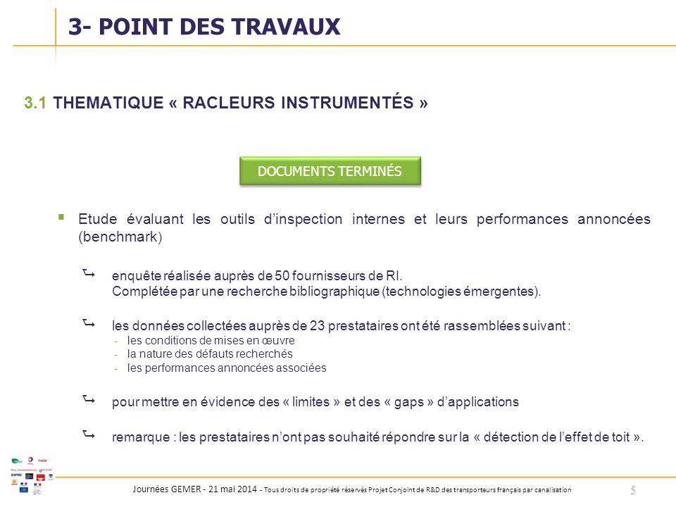 Journées GEMER - 21 mai 2014 - Tous droits de propriété réservés Projet Conjoint de R&D des transporteurs français par canalisation 3.1THEMATIQUE « RA