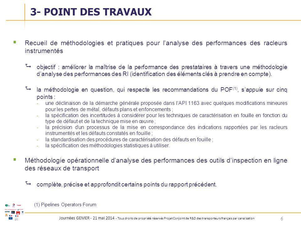 Journées GEMER - 21 mai 2014 - Tous droits de propriété réservés Projet Conjoint de R&D des transporteurs français par canalisation  Recueil de métho