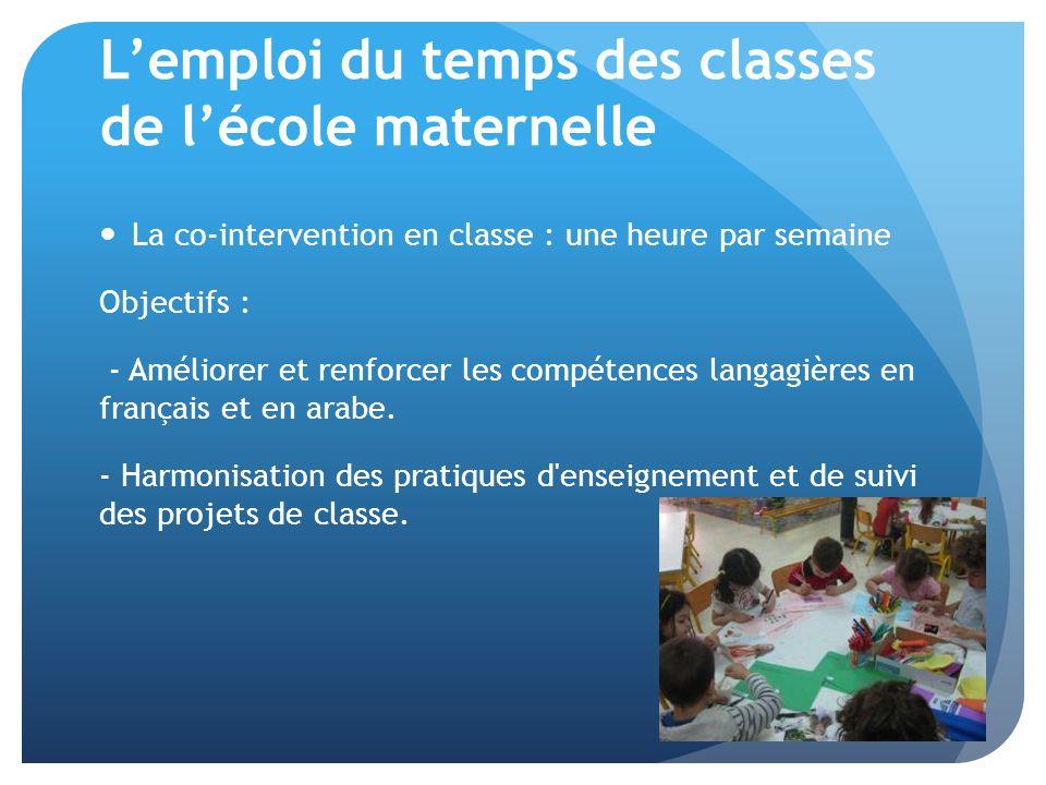 L'emploi du temps des classes de l'école maternelle La co-intervention en classe : une heure par semaine Objectifs : - Améliorer et renforcer les compétences langagières en français et en arabe.