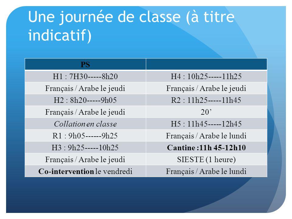 Une journée de classe (à titre indicatif) PS H1 : 7H30-----8h20H4 : 10h25-----11h25 Français / Arabe le jeudi H2 : 8h20-----9h05R2 : 11h25-----11h45 Français / Arabe le jeudi20' Collation en classeH5 : 11h45-----12h45 R1 : 9h05------9h25Français / Arabe le lundi H3 : 9h25-----10h25Cantine :11h 45-12h10 Français / Arabe le jeudiSIESTE (1 heure) Co-intervention le vendrediFrançais / Arabe le lundi