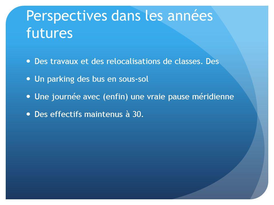 Perspectives dans les années futures Des travaux et des relocalisations de classes. Des Un parking des bus en sous-sol Une journée avec (enfin) une vr