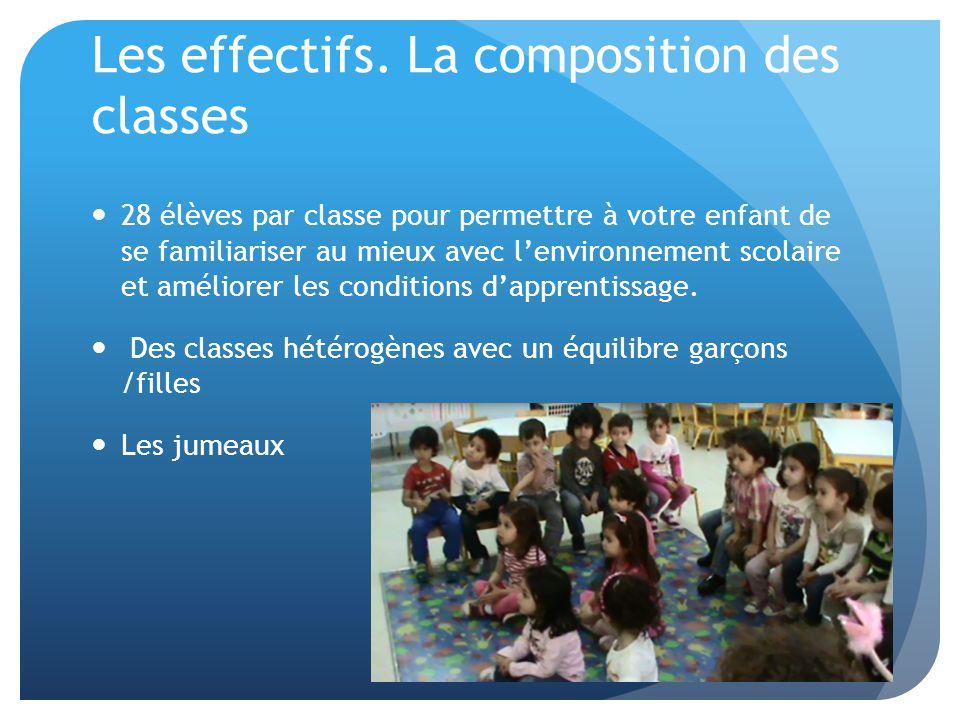 Les effectifs. La composition des classes 28 élèves par classe pour permettre à votre enfant de se familiariser au mieux avec l'environnement scolaire