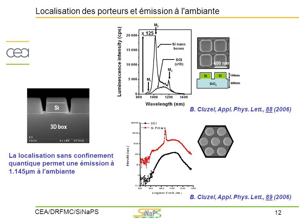 12 CEA/DRFMC/SiNaPS Localisation des porteurs et émission à l'ambiante B. Cluzel, Appl. Phys. Lett., 88 (2006) Si 3D box B. Cluzel, Appl. Phys. Lett.,