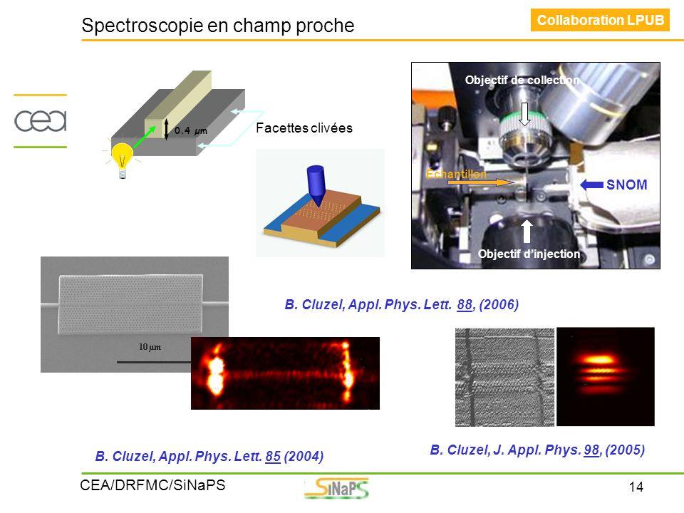 14 CEA/DRFMC/SiNaPS Image MEB Spectroscopie en champ proche Collaboration LPUB SNOM Échantillon Objectif de collection Objectif d'injection Facettes c