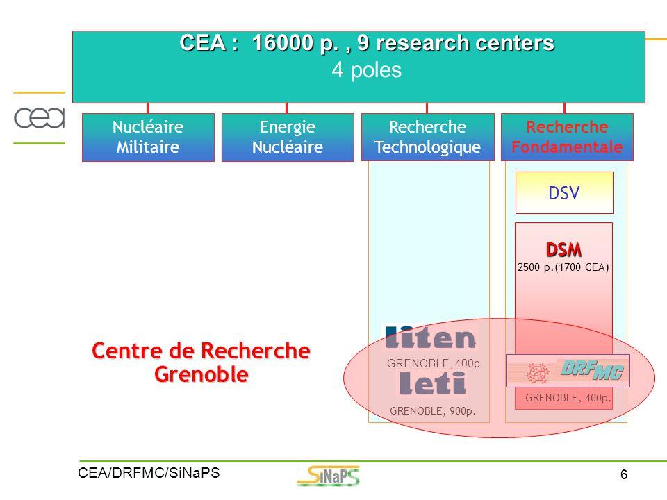 6 CEA/DRFMC/SiNaPS CEA : 16000 p., 9 research centers 4 poles DSV DSM 2500 p.(1700 CEA) Nucléaire Militaire Energie Nucléaire Recherche Technologique
