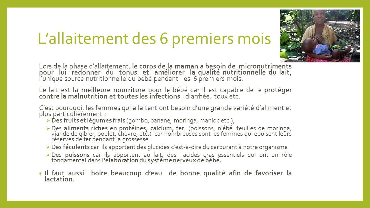 L'allaitement des 6 premiers mois Lors de la phase d'allaitement, le corps de la maman a besoin de micronutriments pour lui redonner du tonus et améli