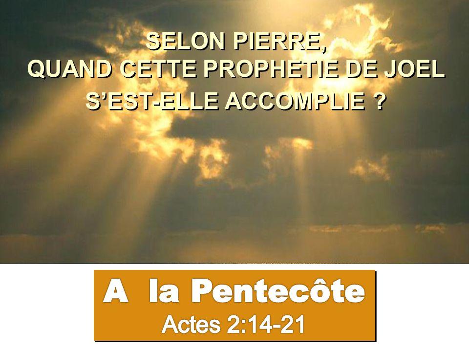 Vous tous qui séjournez à Jérusalem… C'est ici ce qui a été dit par le prophète Joël : Dans les derniers jour, dit Dieu, je répandrai mon Esprit sur toute chair.