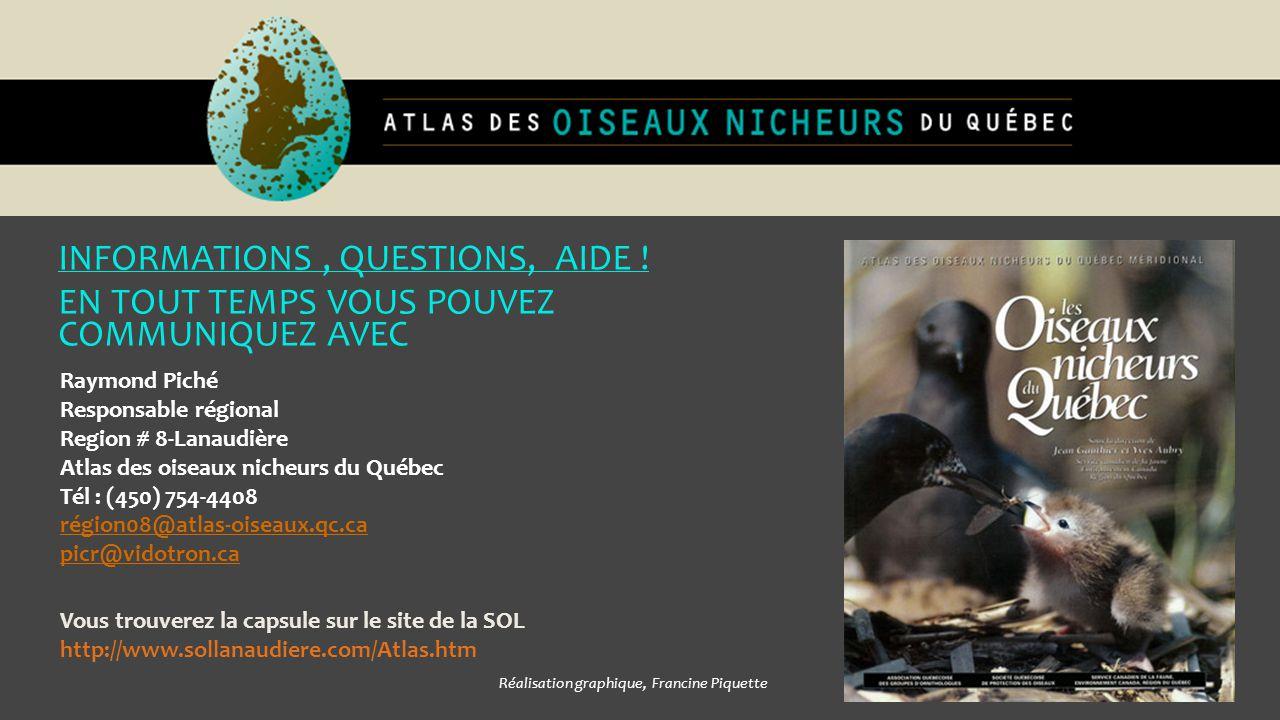 INFORMATIONS, QUESTIONS, AIDE ! EN TOUT TEMPS VOUS POUVEZ COMMUNIQUEZ AVEC Raymond Piché Responsable régional Region # 8-Lanaudière Atlas des oiseaux