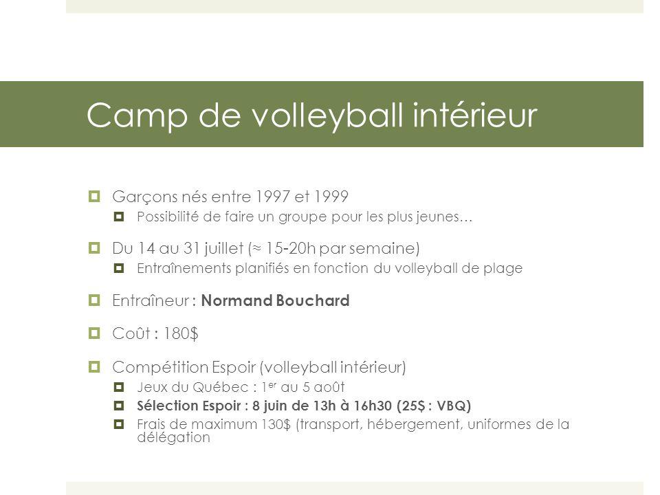 Camp de volleyball intérieur  Garçons nés entre 1997 et 1999  Possibilité de faire un groupe pour les plus jeunes…  Du 14 au 31 juillet (≈ 15-20h par semaine)  Entraînements planifiés en fonction du volleyball de plage  Entraîneur : Normand Bouchard  Coût : 180$  Compétition Espoir (volleyball intérieur)  Jeux du Québec : 1 er au 5 août  Sélection Espoir : 8 juin de 13h à 16h30 (25$ : VBQ)  Frais de maximum 130$ (transport, hébergement, uniformes de la délégation