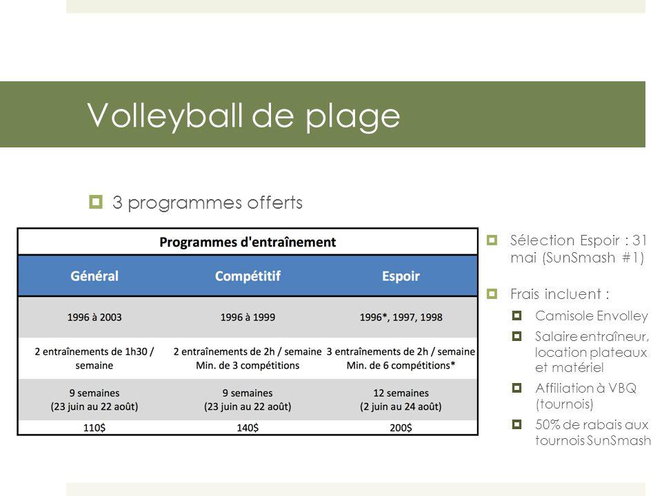 Volleyball de plage Horaires  Programme général  Lundis (8h30 à 10h)* et mercredis (17h à 18h30) *Exceptions les lundis 23 juin et 7 juillet : 17h à 19h  Programme compétitif  Groupe 1 : lundis (17h à 19h) et mercredis (17h à 19h)  Groupe 2 : mardis (8h30 à 10h30)* et mercredis (17h à 19h) *Exceptions les mardis 24 juin et 8 juillet : 17h à 19h  Programme Espoir  Lundis (8h30 à 10h30)*, mardis (17h à 19h) et mercredis (17h à 19h) *Exceptions les lundis 23 juin, 7 juillet et 21 juillet : 17h à 19h // Pas d'entraînement la semaine du 4 août (Jeux du Québec)