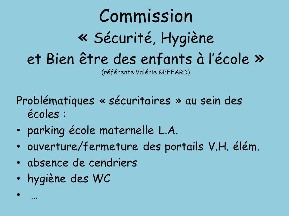 Commission « Sécurité, Hygiène et Bien être des enfants à l'école » (référente Valérie GEFFARD) Problématiques « sécuritaires » au sein des écoles : p