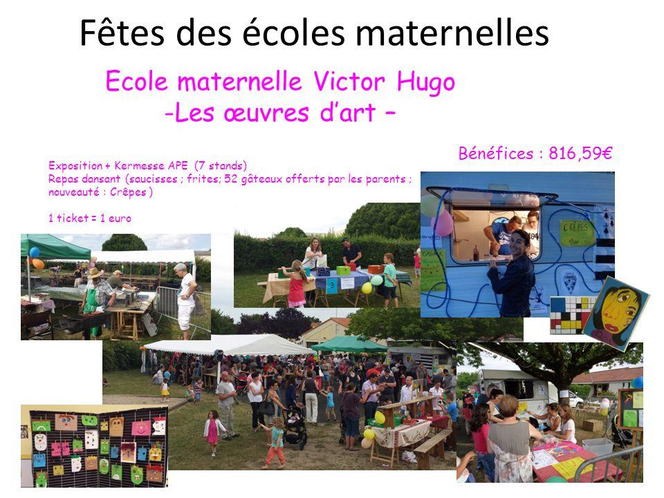Fêtes des écoles maternelles Ecole maternelle Victor Hugo -Les œuvres d'art – Exposition + Kermesse APE (7 stands) Repas dansant (saucisses ; frites;
