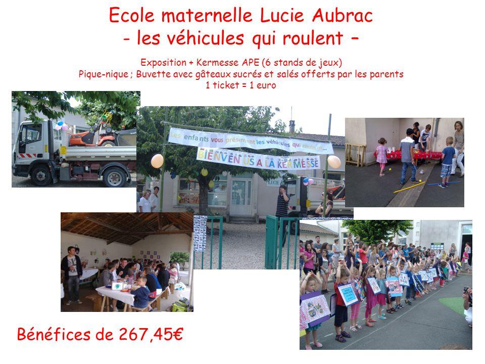 Ecole maternelle Lucie Aubrac - les véhicules qui roulent – Exposition + Kermesse APE (6 stands de jeux) Pique-nique ; Buvette avec gâteaux sucrés et