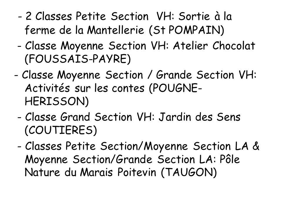 - 2 Classes Petite Section VH: Sortie à la ferme de la Mantellerie (St POMPAIN) - Classe Moyenne Section VH: Atelier Chocolat (FOUSSAIS-PAYRE) - Class