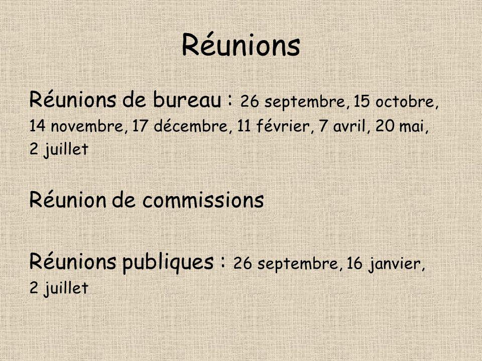 Réunions Réunions de bureau : 26 septembre, 15 octobre, 14 novembre, 17 décembre, 11 février, 7 avril, 20 mai, 2 juillet Réunion de commissions Réunio